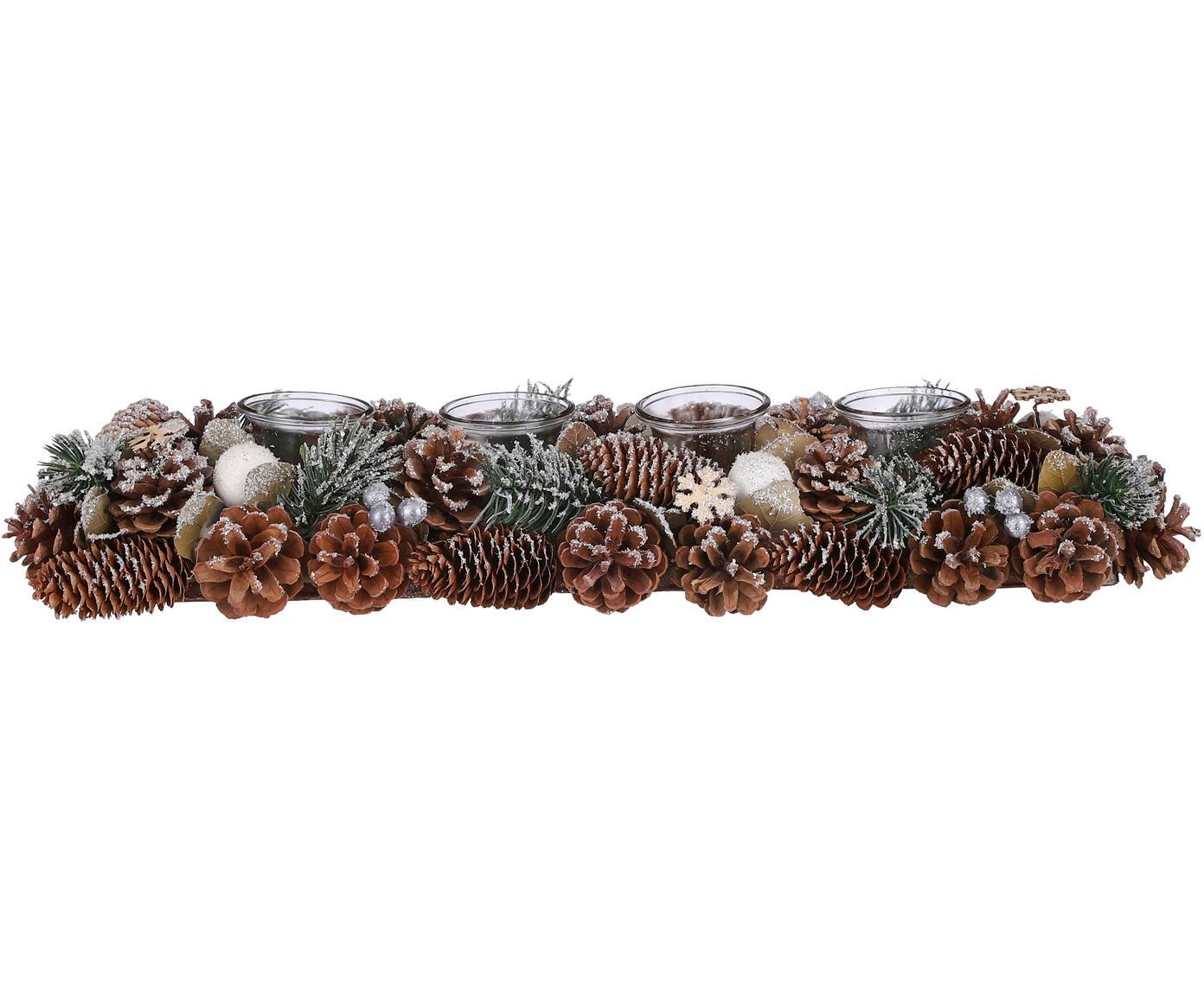 Adventskranz Nicola, Naturfaser, Braun, Weiss, Grün, 55 x 9 cm