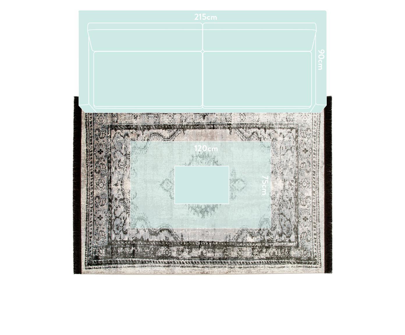 Vintage Teppich Marvel mit Fransen, Flor: 66% Kunstseide, 25% Baumw, Dunkelgrau, Hellgrau, Hellbeige, B 200 x L 300 cm (Größe L)