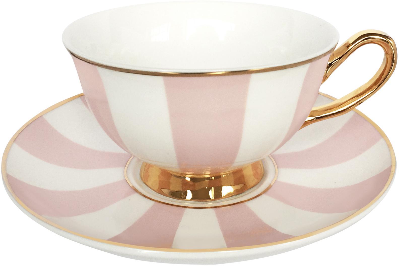 Teetasse mit Untertasse Stripy, Bone China, vergoldet, Rosa, Weiß<br>Rand und Henkel: Gold, Ø 15 x H 6 cm
