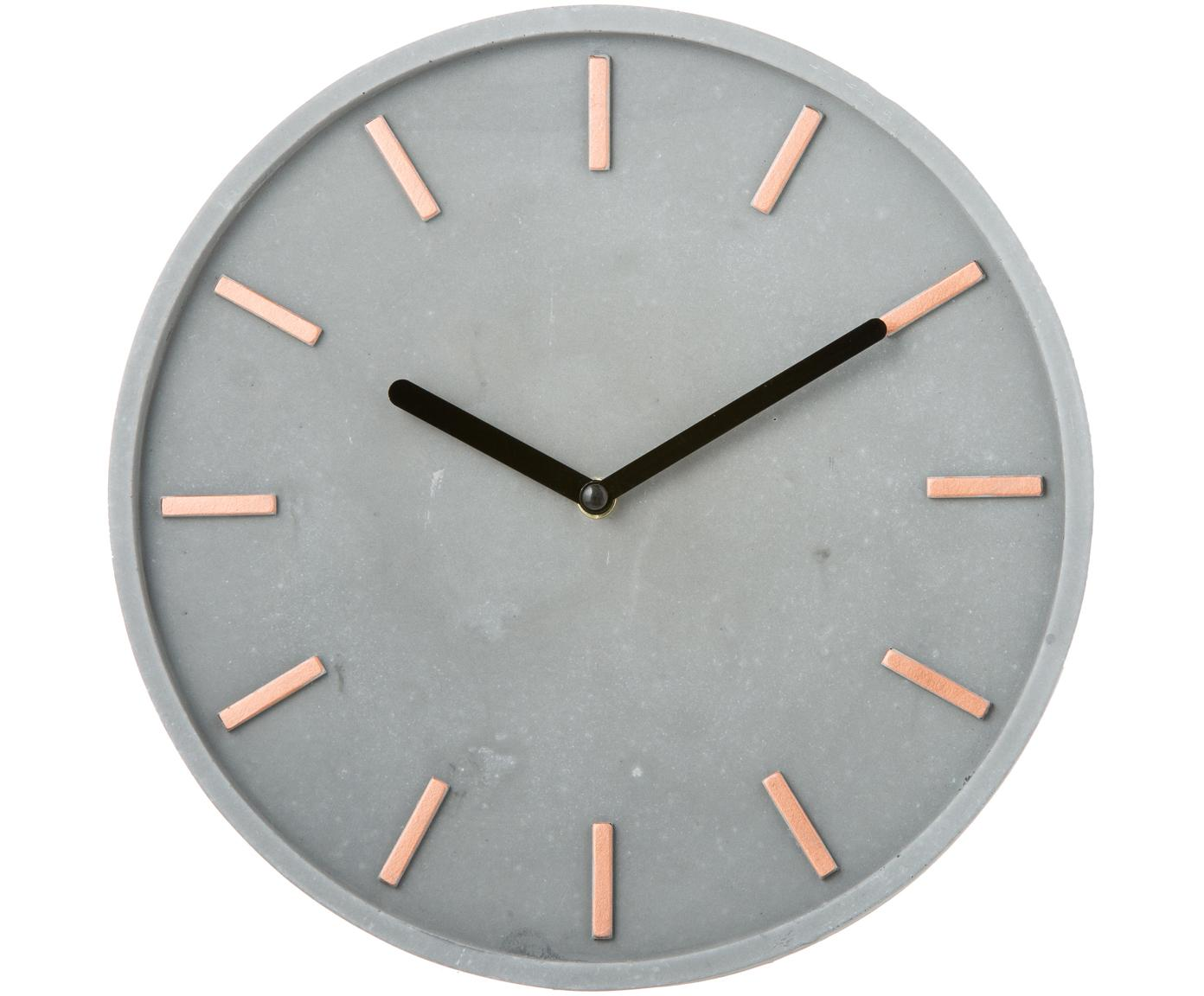 Wandklok Gela, Wijzerplaat: beton met gegoten, gelakt, Grijs, Ø 28 cm