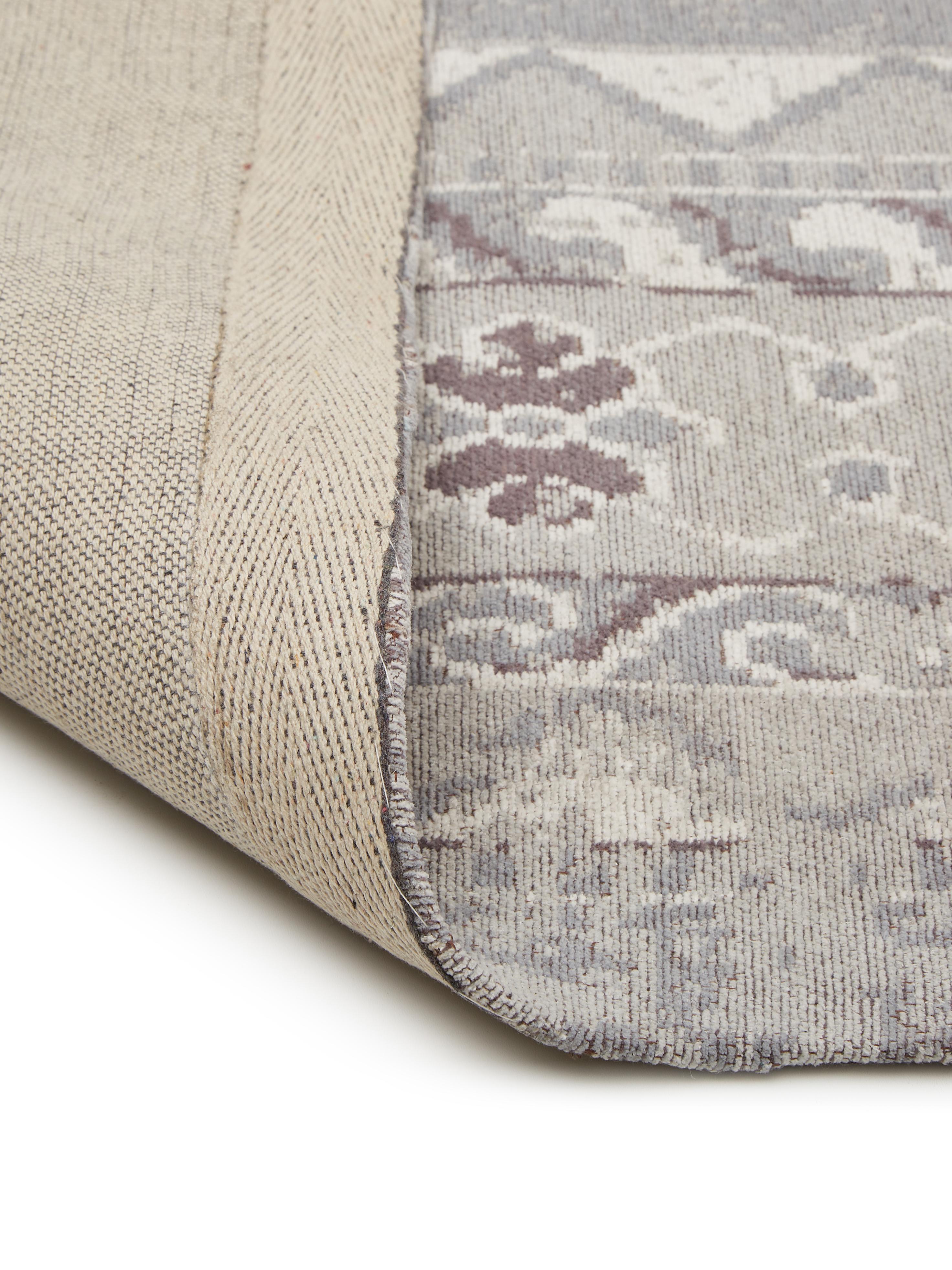 Žinylkový koberec ve vintage stylu Rebel, Světle šedá, krémová