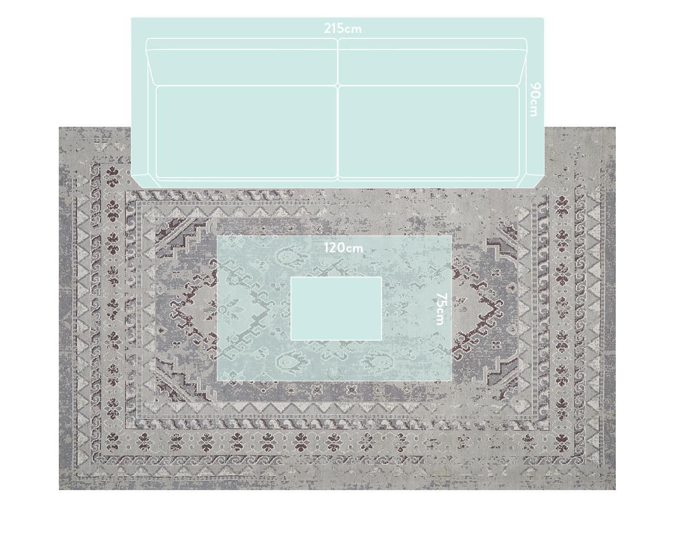 Vintage Chenilleteppich Rebel in Grau, Flor: 95% Baumwolle, 5% Polyest, Hellgrau, Creme, B 200 x L 300 cm (Größe L)
