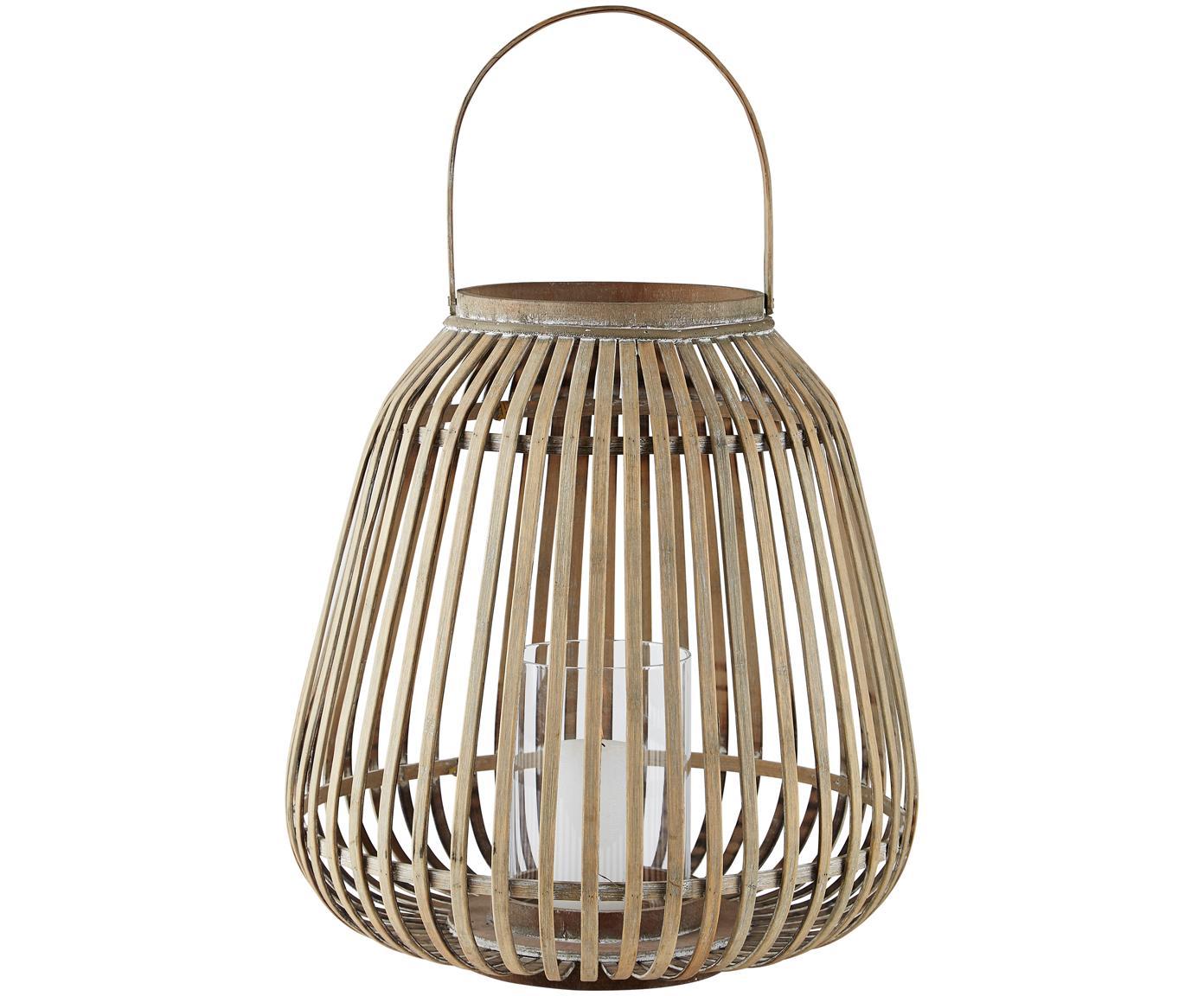 Laterne Alma, Gestell: Bambus, Windlicht: Glas, Gestell: Bambus<br>Windlicht: Transparent, Ø 37 x H 40 cm