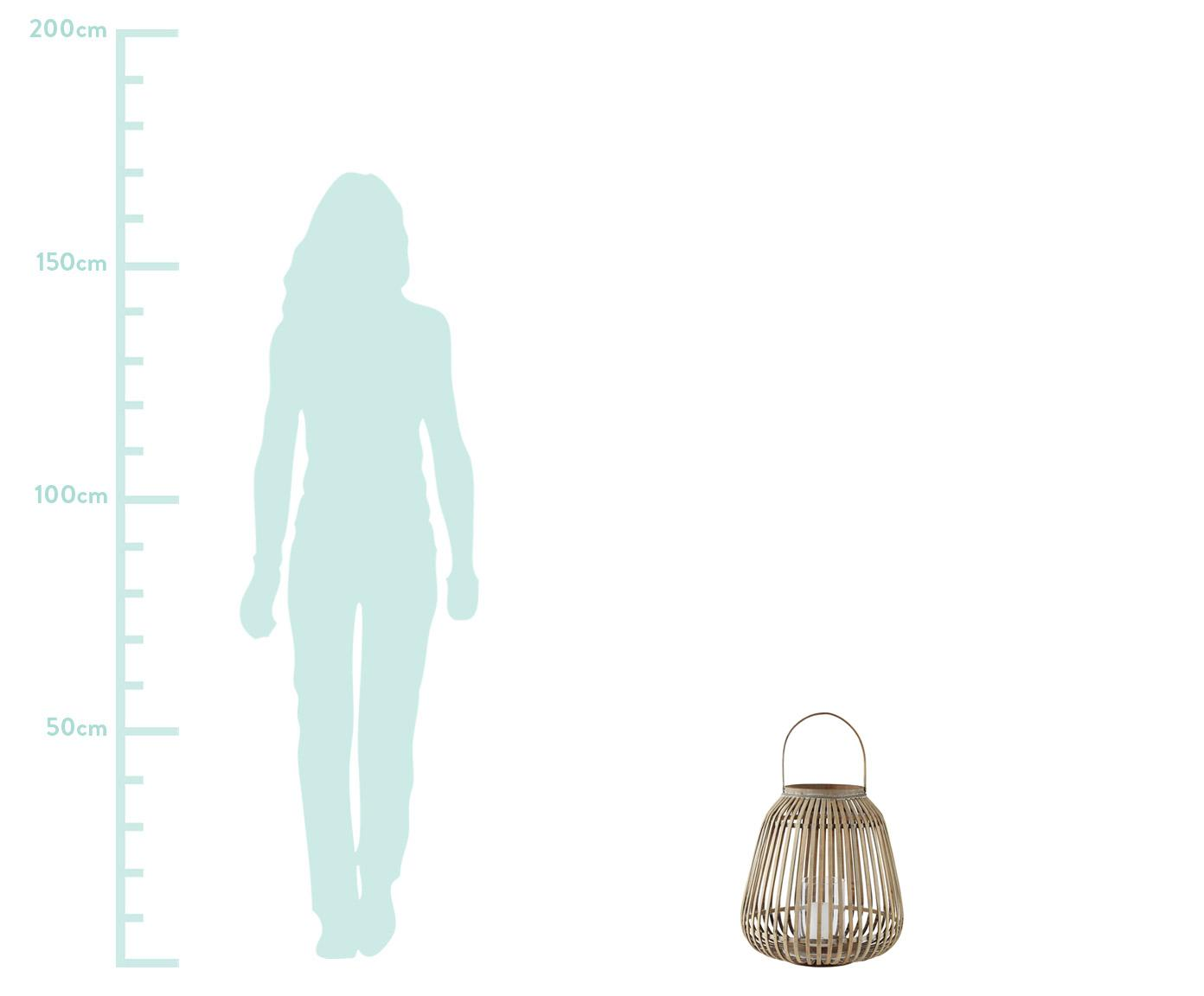 Lantaarn Alma, Frame: bamboehout, Windlicht: glas, Frame: bamboekleurig. Windlicht: transparant, Ø 37 x H 40 cm