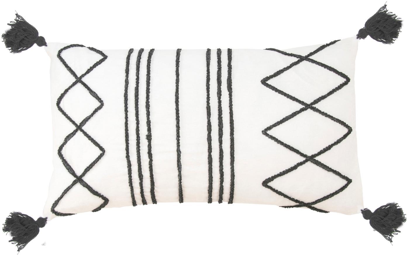 Poszewka na poduszkę z chwostami Istanbul, 100% bawełna, Biały, czarny, S 30 x D 50 cm