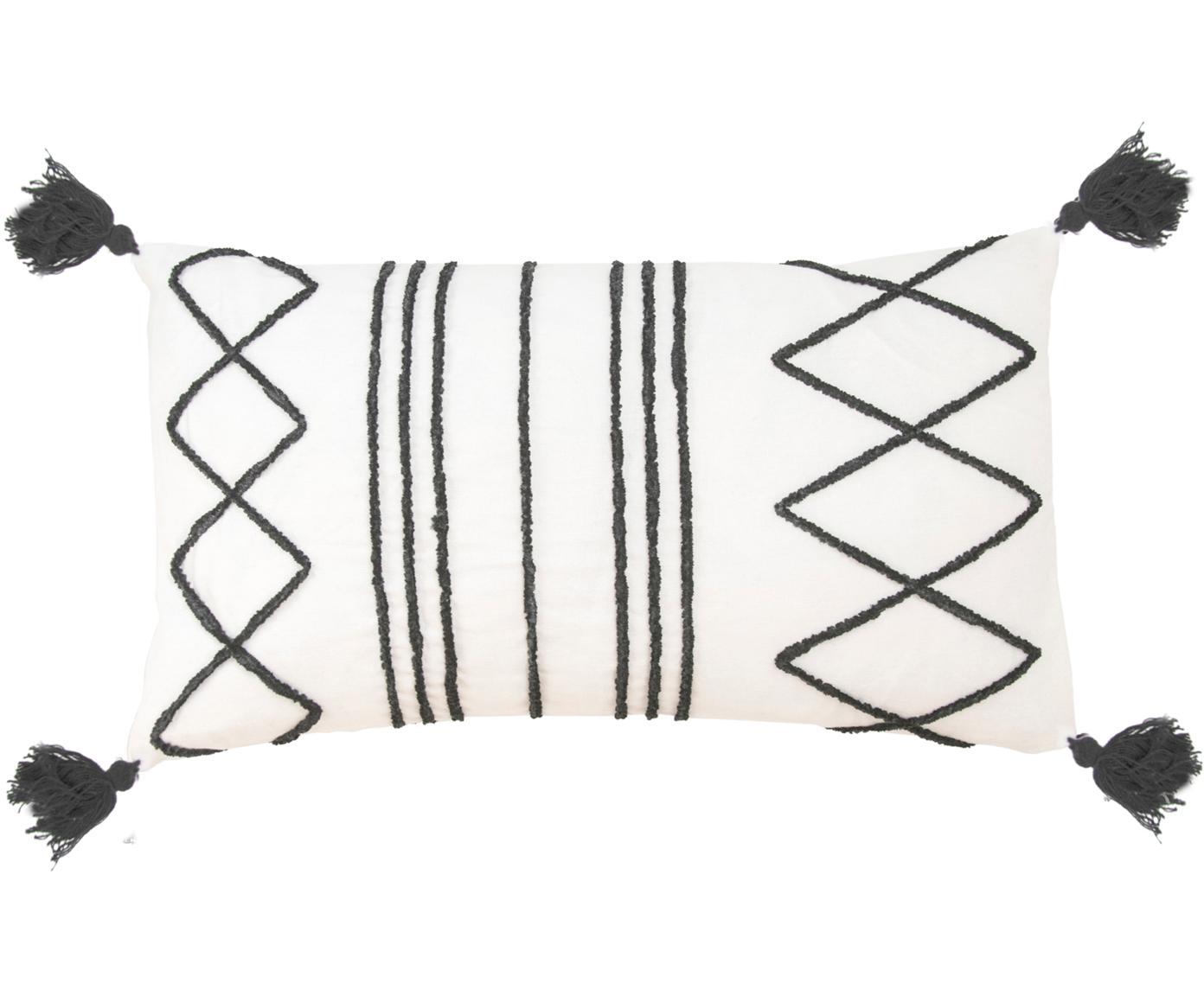 Kussenhoes Istanbul met hoog-laag patroon van chenille en kwastjes, Katoen, Wit, zwart, 30 x 50 cm