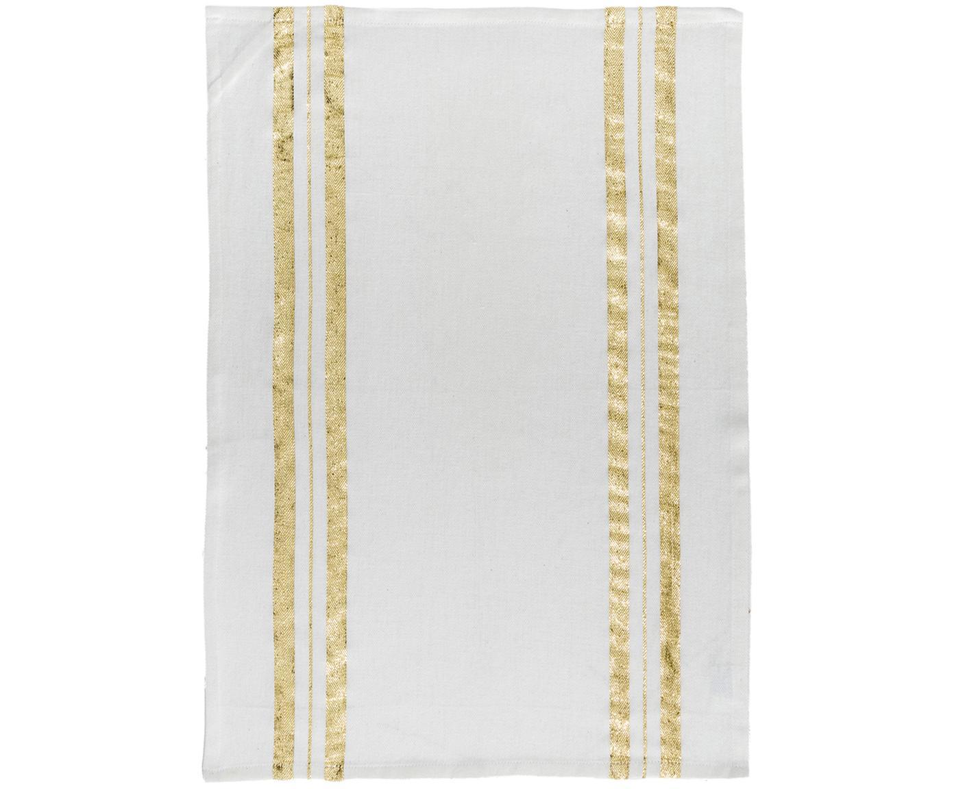 Theedoek Corinne met goudkleurige details, Katoen, Wit, goudkleurig, 50 x 70 cm