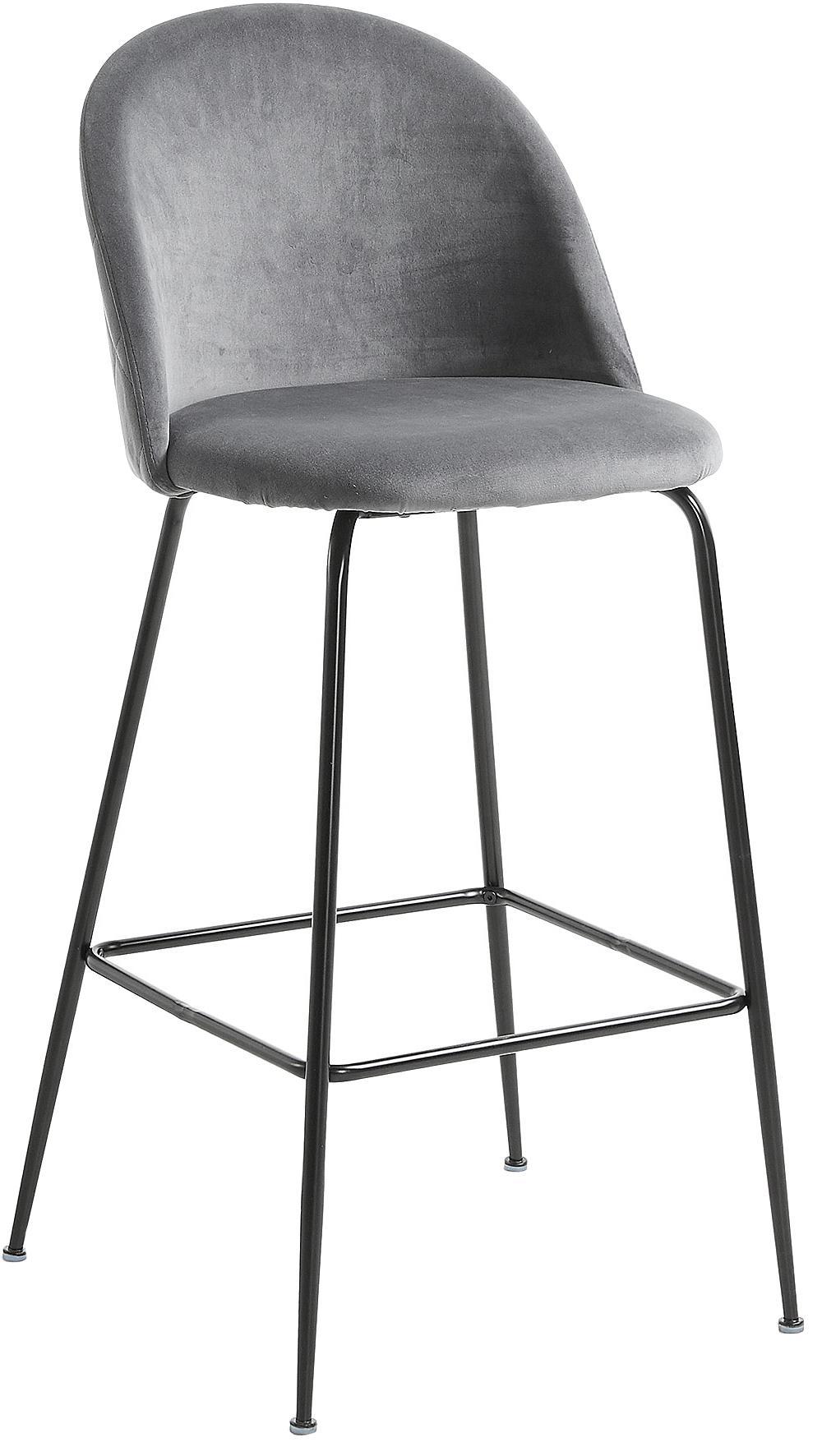 Sgabello da bar in velluto Ivonne, Rivestimento: velluto di poliestere, Struttura: metallo verniciato, Grigio, nero, Larg. 53 x Alt. 108 cm