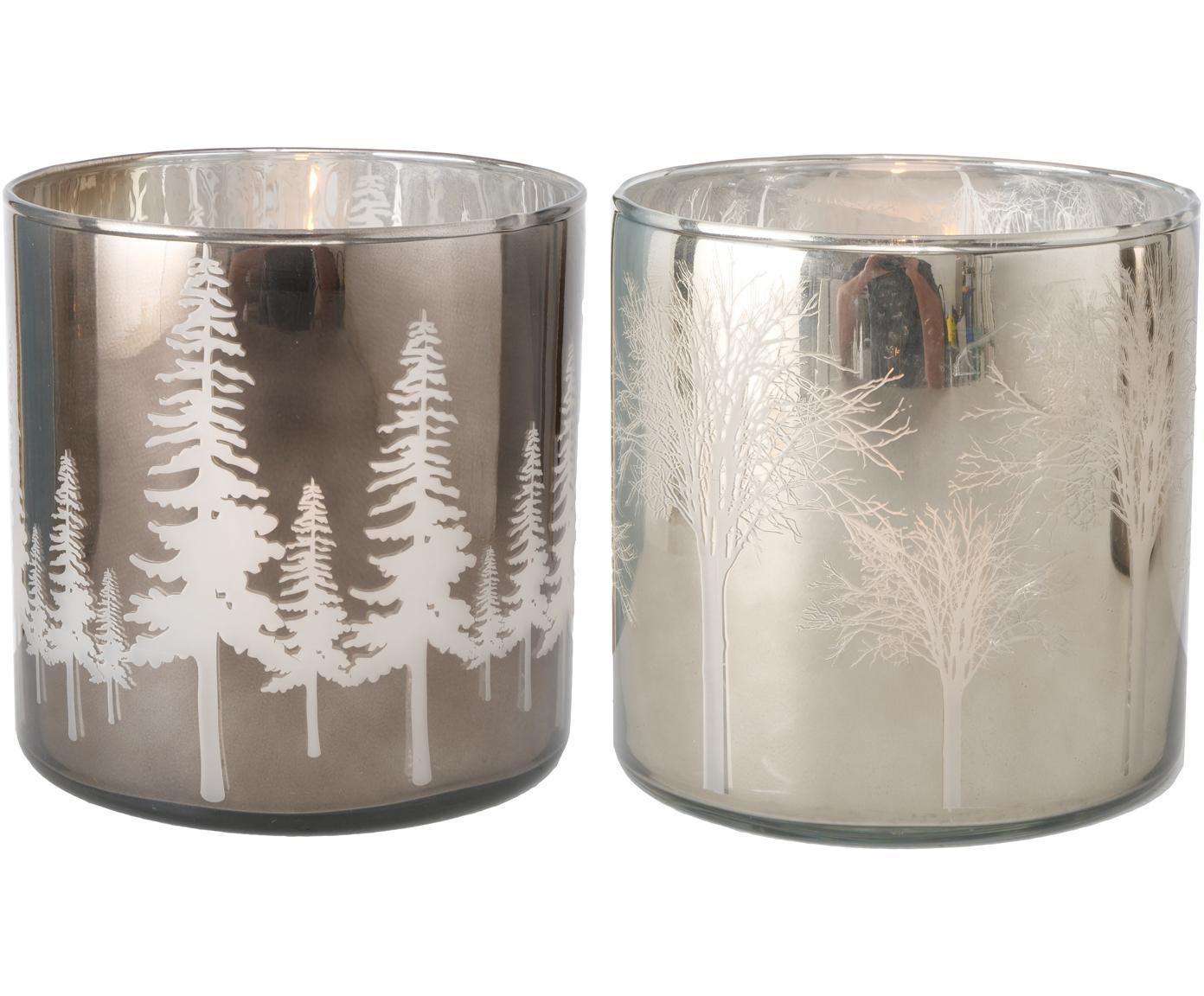 Windlichter-Set Skove, 2-tlg., Glas, lackiert, Silberfarben, Grau, glänzend, Ø 15 x H 15 cm