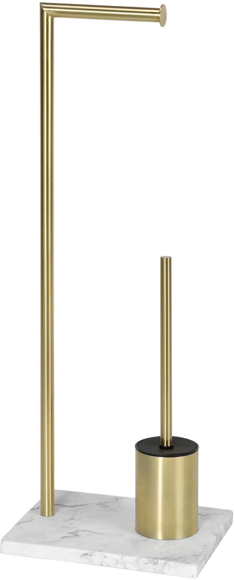 Toilettenpapierhalter Albany mit Toilettenbürste, Halter: Metall, beschichtet, Messingfarben, Weiss, 27 x 73 cm