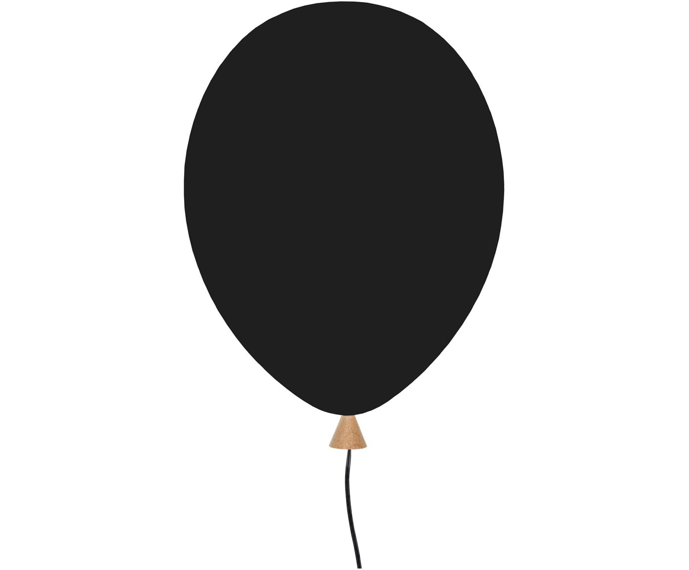 Applique in legno con spina Balloon, Paralume: legno rivestito, Nero, Larg. 25 x Alt. 35 cm