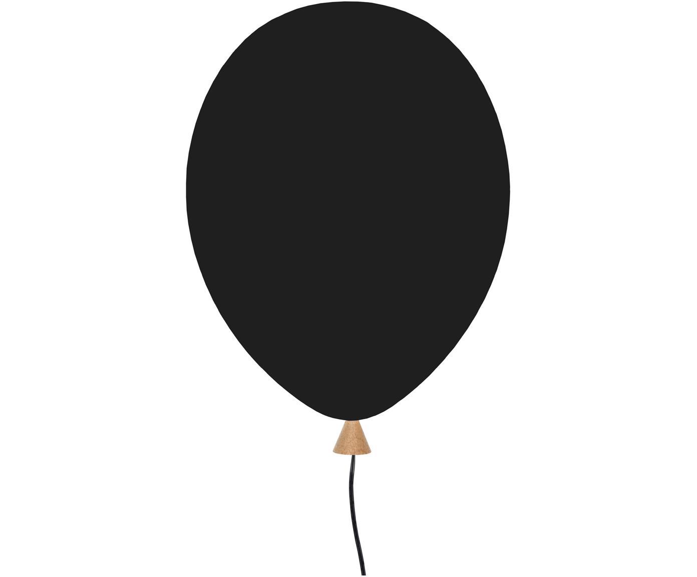 Wandlamp Balloon met stekker, Lampenkap: gecoat hout, Zwart, 25 x 35 cm