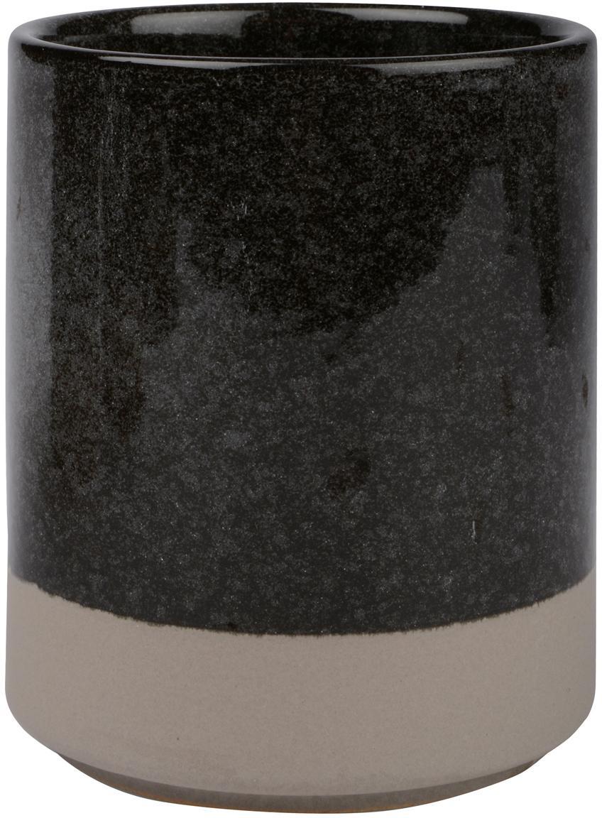 Zahnputzbecher Grego aus Keramik, Keramik, Dunkelgrau, Beige, Ø 8 x H 10 cm