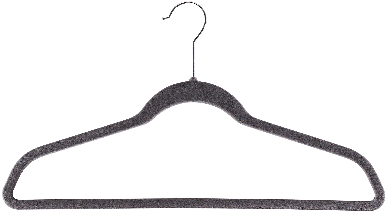 Kleiderbügel Grey Velvet, 12 Stück, Haken: Metall, Bezug: Nylonbeflockung, Grau, 45 x 25 cm