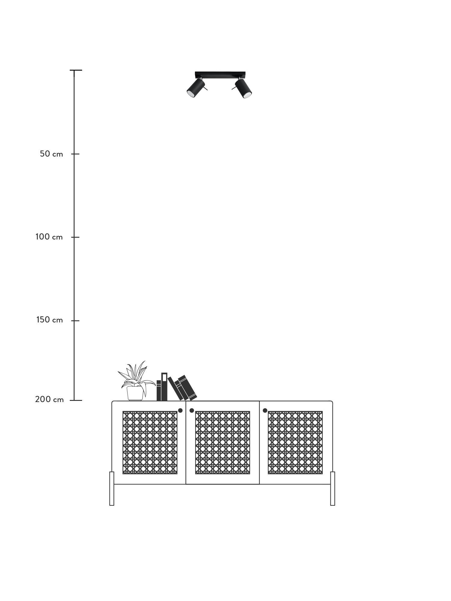 Deckenstrahler Etna in Schwarz, Stahl, lackiert, Schwarz, 30 x 15 cm
