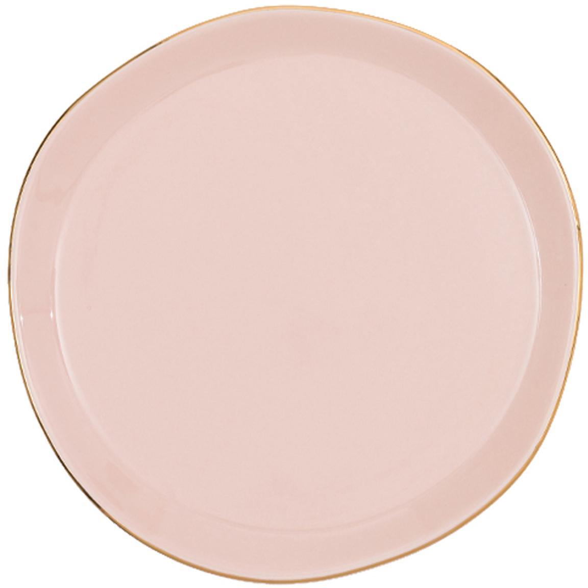 Piattino da dessert con bordo dorato Good Morning, Porcellana, Rosa, dorato, Ø 17 cm