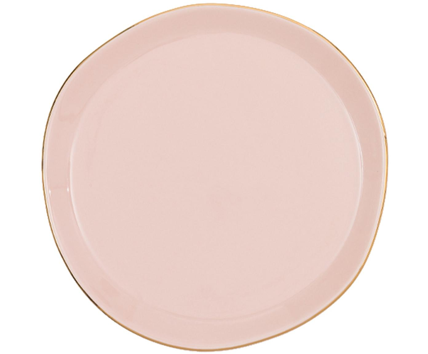 Ontbijtbord Good Morning, Porselein, Roze, goudkleurig, Ø 17 cm