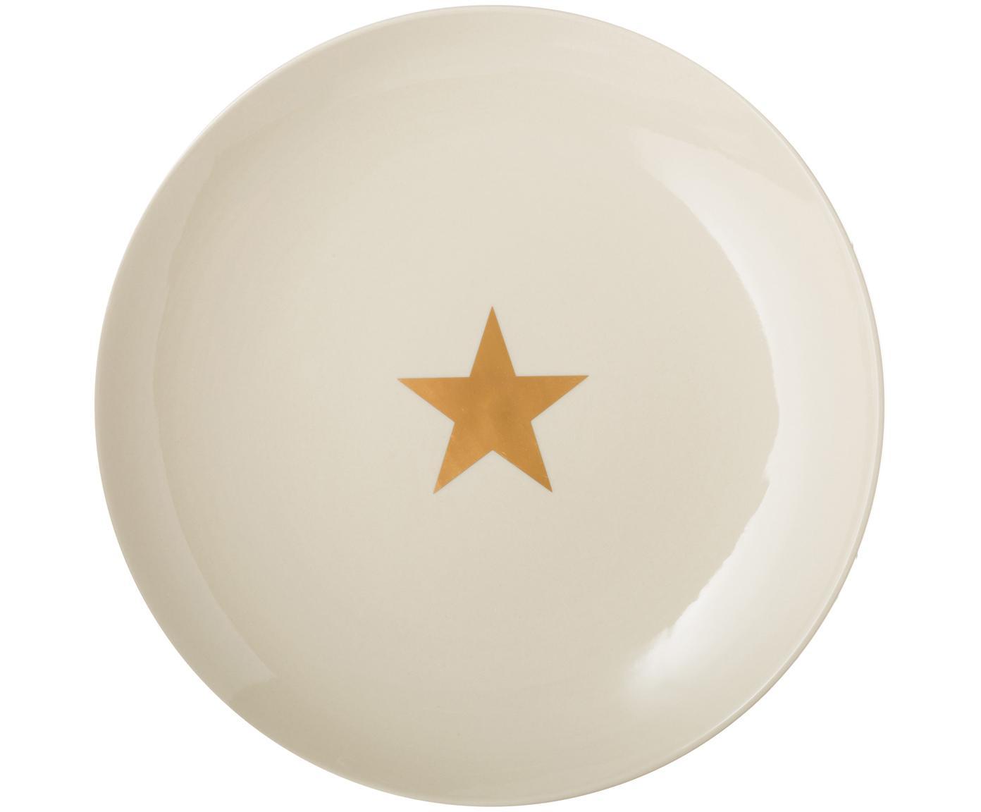 Speiseteller Star mit goldenem Stern, Keramik, Gebrochenes Weiß, Goldfarben, Ø 25 cm