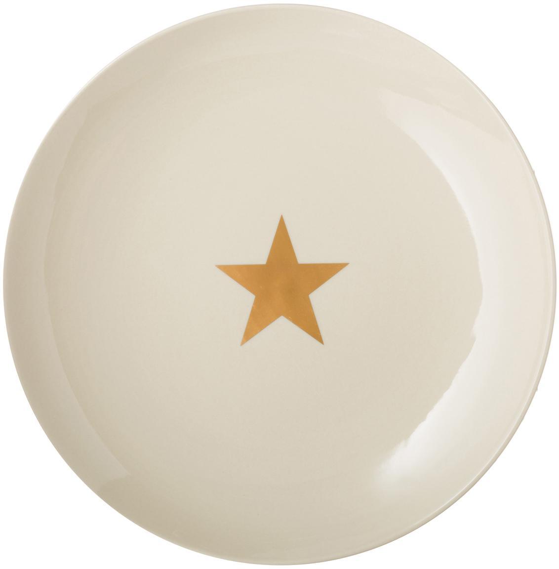 Talerz duży Star, Ceramika, Złamana biel, odcienie złotego, Ø 25 cm
