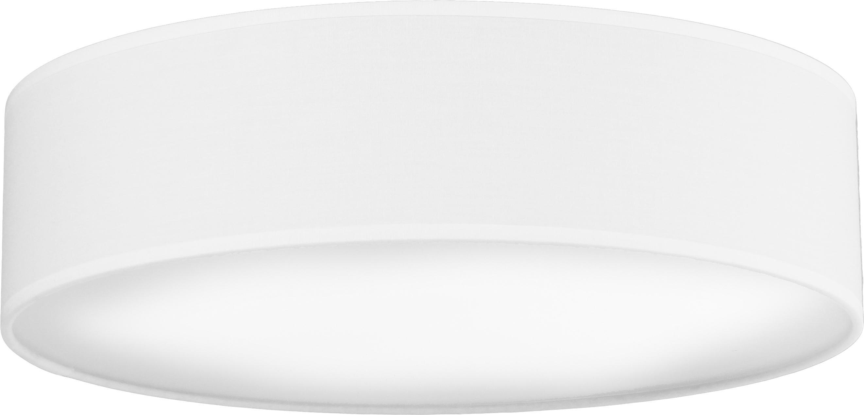 Plafón artesanal Mika, Blanco, Ø 40 x Al 10 cm