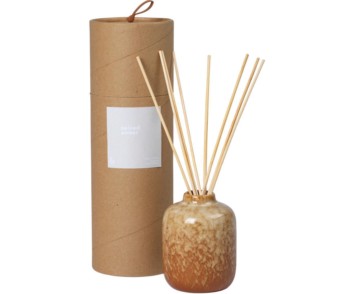 Ambientador Spiced Amber (ámbar), Recipiente: cerámica, Marrón, Ø 7 x Al 9 cm