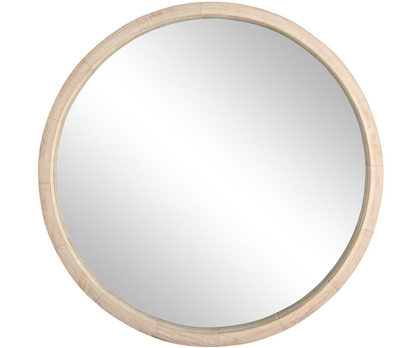 Specchio rotondo da parete con cornice in legno Tiziano, Cornice: legno di Paulownia, Superficie dello specchio: lastra di vetro, Legno di Paulownia, Ø 52 x Alt. 52 cm