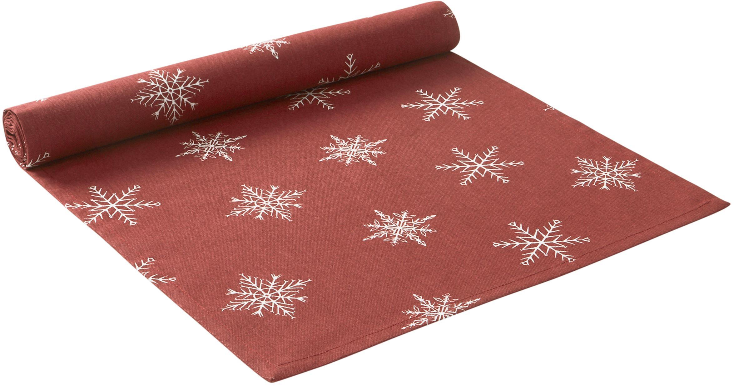 Runner da tavola con motivo a stelle Snow, 100% cotone, da coltivazione sostenibile del cotone, Rosso, bianco, Larg. 40 x Lung. 140 cm