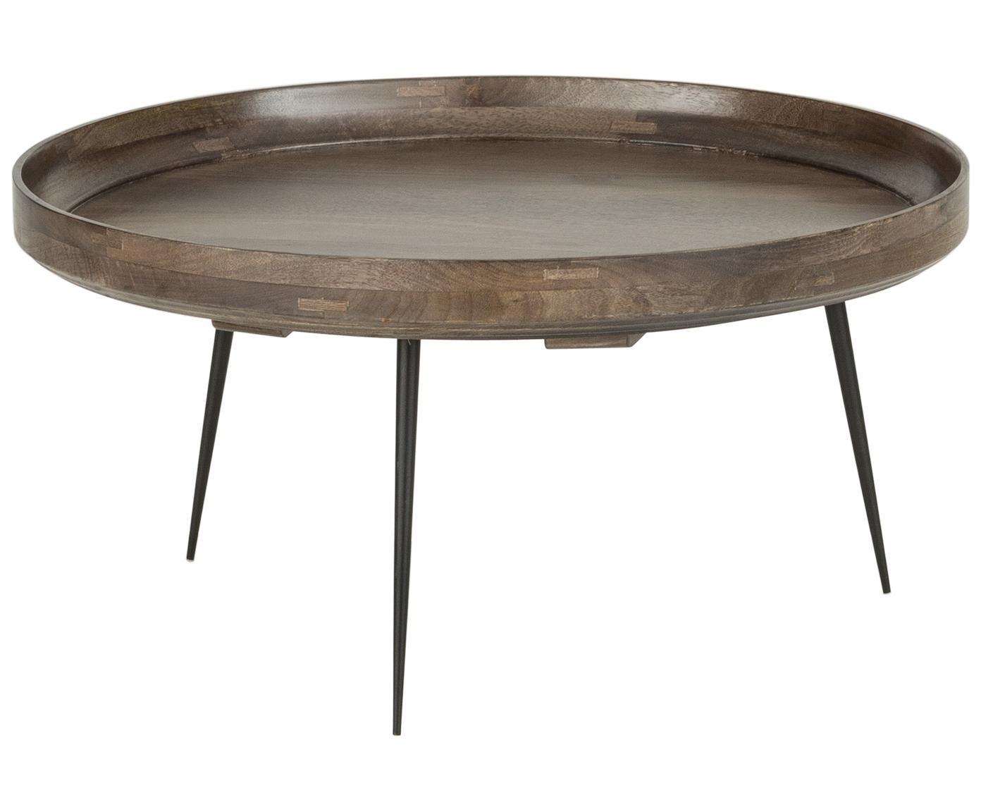 Tavolino da salotto di design Bowl Table, Piano d'appoggio: legno di mango, verniciat, Gambe: acciaio, verniciato a pol, Marrone grigio, Ø 75 x A 38 cm