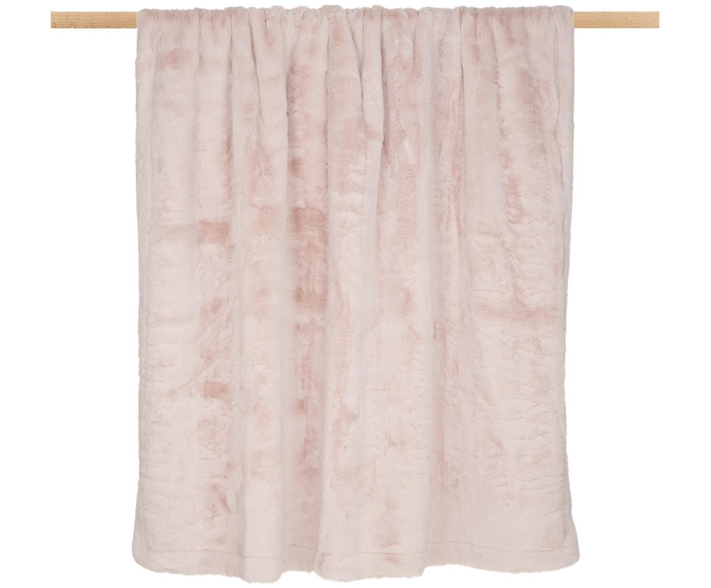 Pled ze sztucznego futra Mette, gładki, Blady różowy, S 150 x D 200 cm