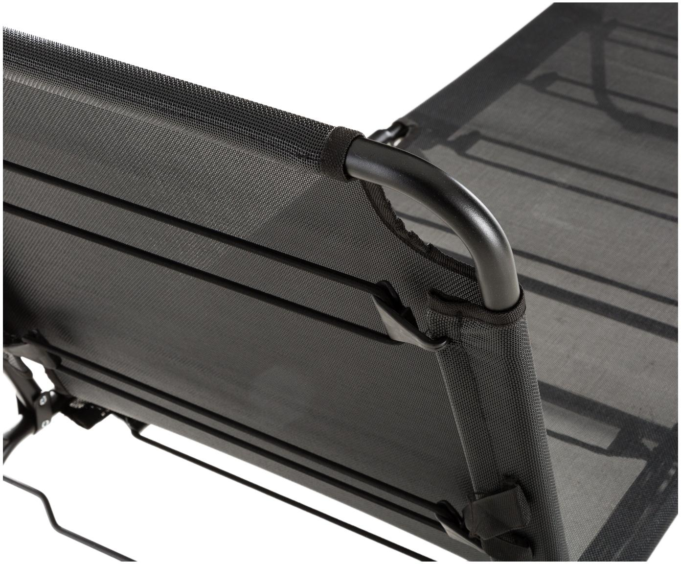 Ligstoel Fiam Amigo, Frame: aluminium, Bekleding: polyester, Zwart, transparant, B 190  x D 58 cm