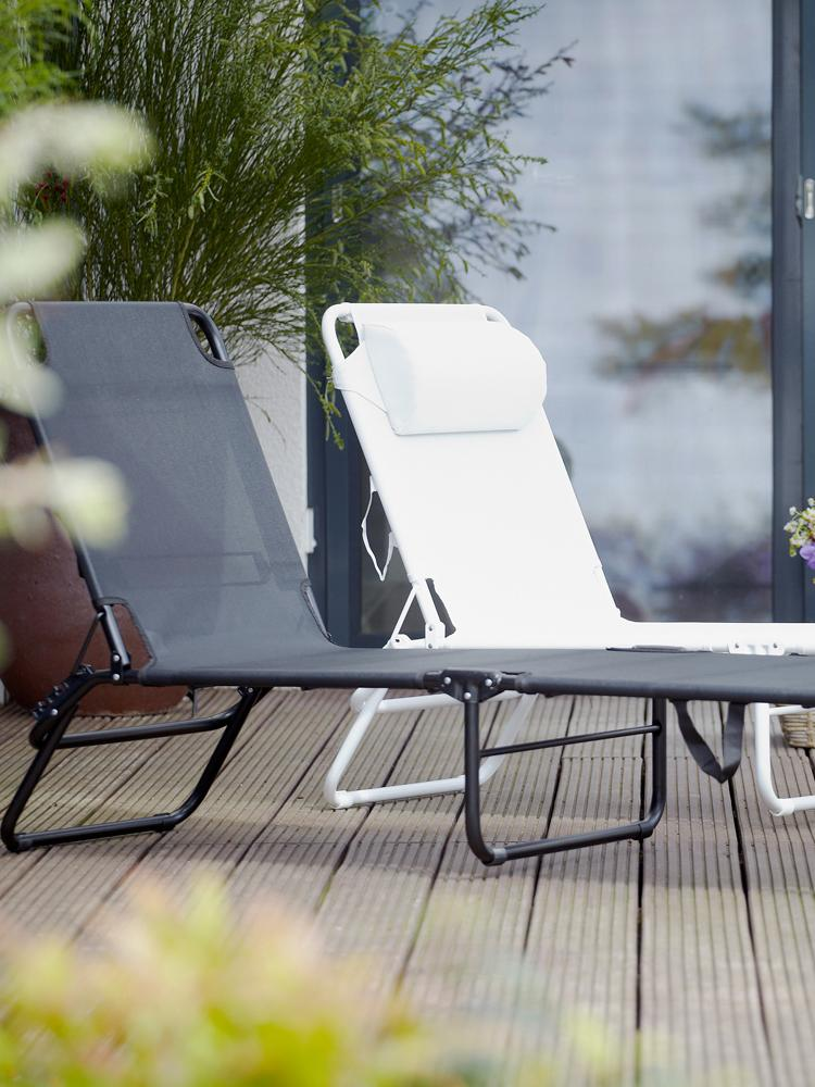 Gartenliege Fiam Amigo ohne Armlehne, Gestell: Aluminium, Bezug: Polyester, Schwarz, Transparent, 58 x 190 cm
