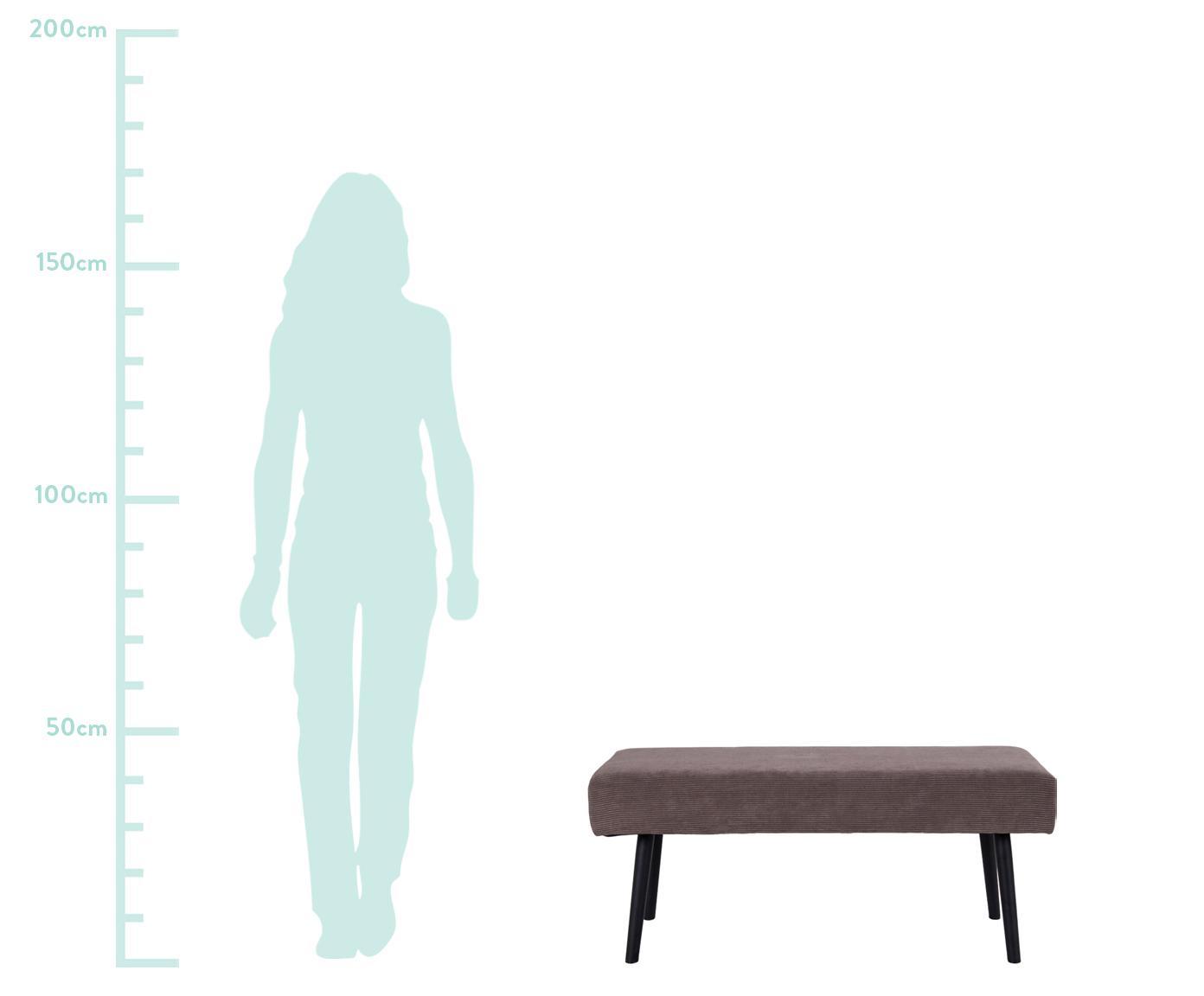 Cord-Polsterbank Skiby, Bezug: Samt 10 000 Scheuertouren, Beine: Stahl, Grau, Schwarz, 100 x 44 cm