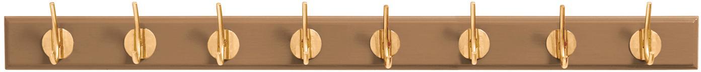 XL Garderobenhaken Aoife mit Metall-Haken, Leiste: Mitteldichte Holzfaserpla, Haken: Messing, Kamelbraun, 90 x 7 cm