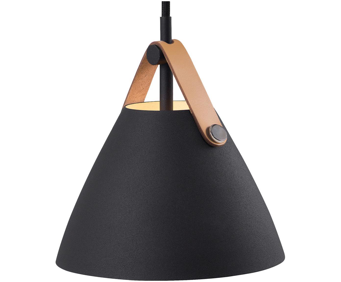 Mała lampa wisząca ze skórzanym paskiem Strap, Czarny, Ø 16 x 17 cm