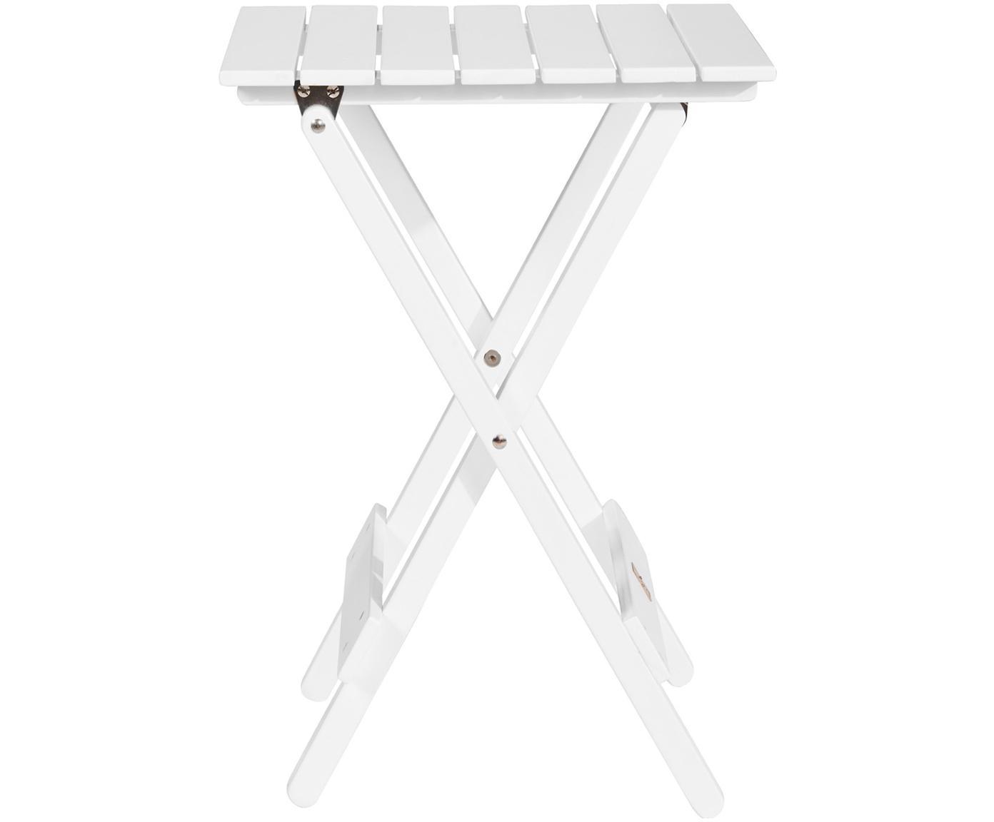 Tavolo pieghevole in legno Lodge, Legno di acacia, verniciato ®FSC certificata, Bianco, Larg. 38 x Alt. 51 cm