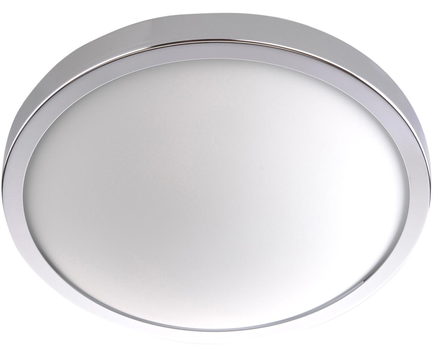 Plafoniera Calisto, Cornice: acciaio, Disco diffusore: vetro, Cromo, bianco, Ø 22 x Alt. 8 cm