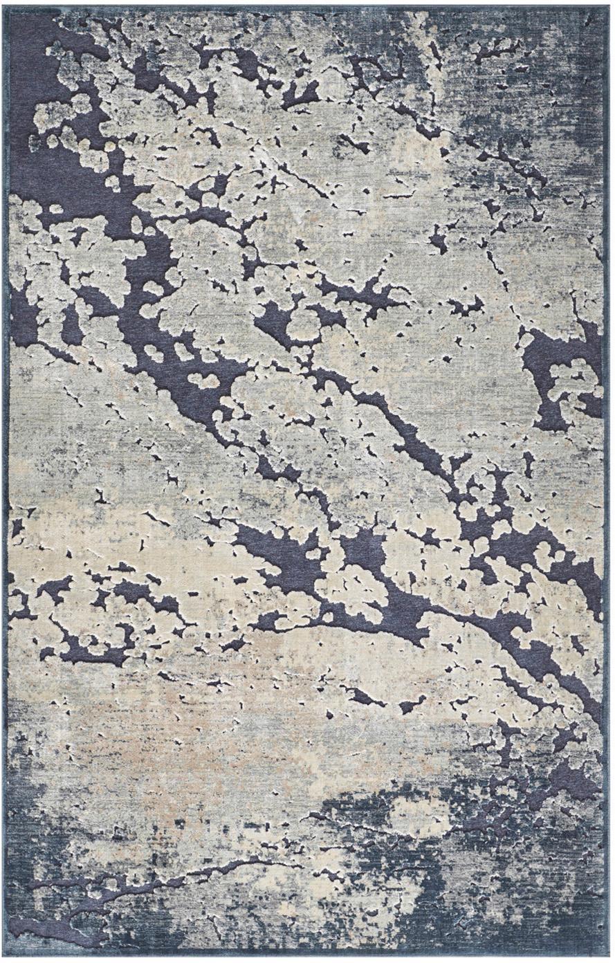 Dywan z wiskozy z wypukłym wzorem Arroux, Ciemny niebieski, beżowy, S 80 x D 125 cm (Rozmiar XS)