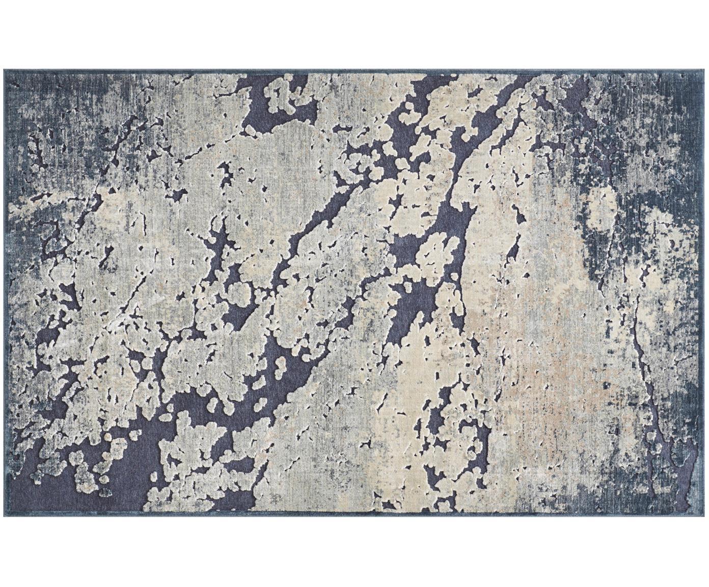 Alfombra de viscosa texturizada Arroux, Parte superior: 90%viscosa, 10%poliéste, Reverso: látex, Azul oscuro, beige, An 80 x L 125 cm (Tamaño XS)
