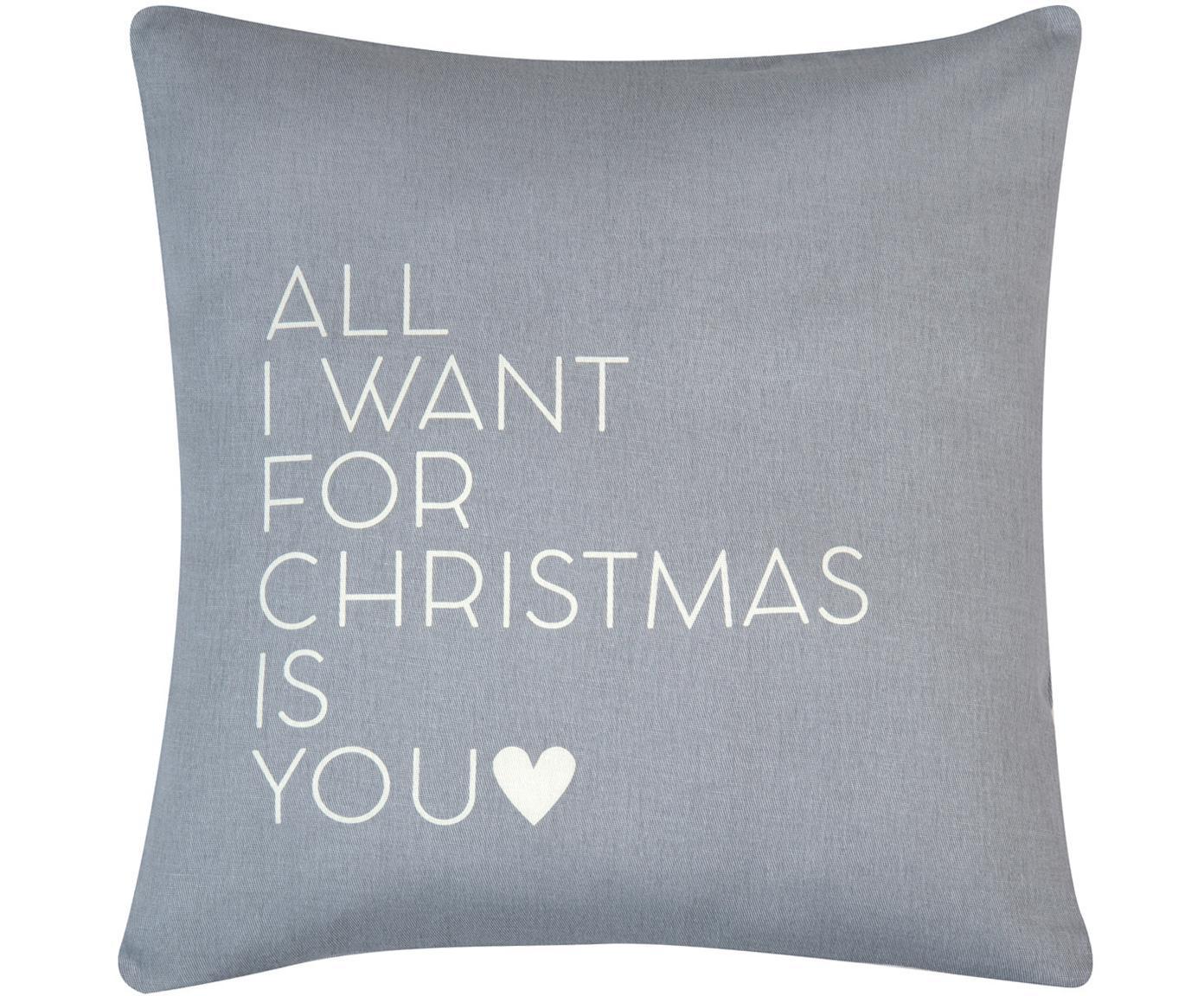 Federa natalizia con scritta All I Want, Cotone, tessuto panama, Grigio,beige, Larg. 40 x Lung. 40 cm