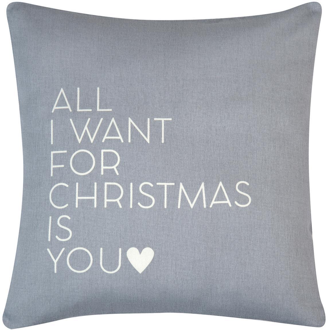 Kissenhülle All I Want mit Schriftzug in Grau/Weiß, Baumwolle, Panamabindung, Grau,Ecru, 40 x 40 cm