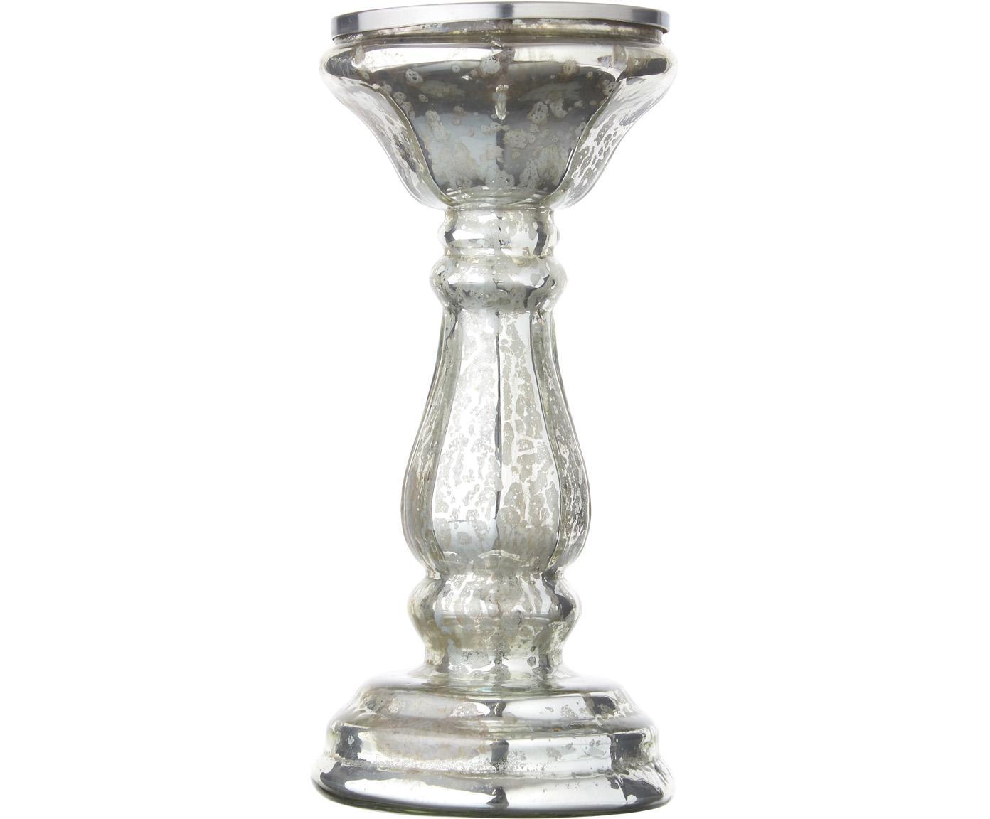 Kerzenständer Dundee, Glas, Silberfarben, Ø 10 x H 24 cm