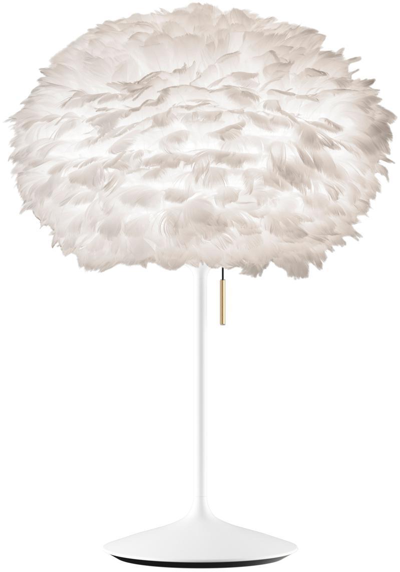 Große Tischlampe Eos aus Federn, Lampenschirm: Gänsefedern, Lampenfuß: Aluminium, lackiert, Weiß, Ø 45 x H 72 cm