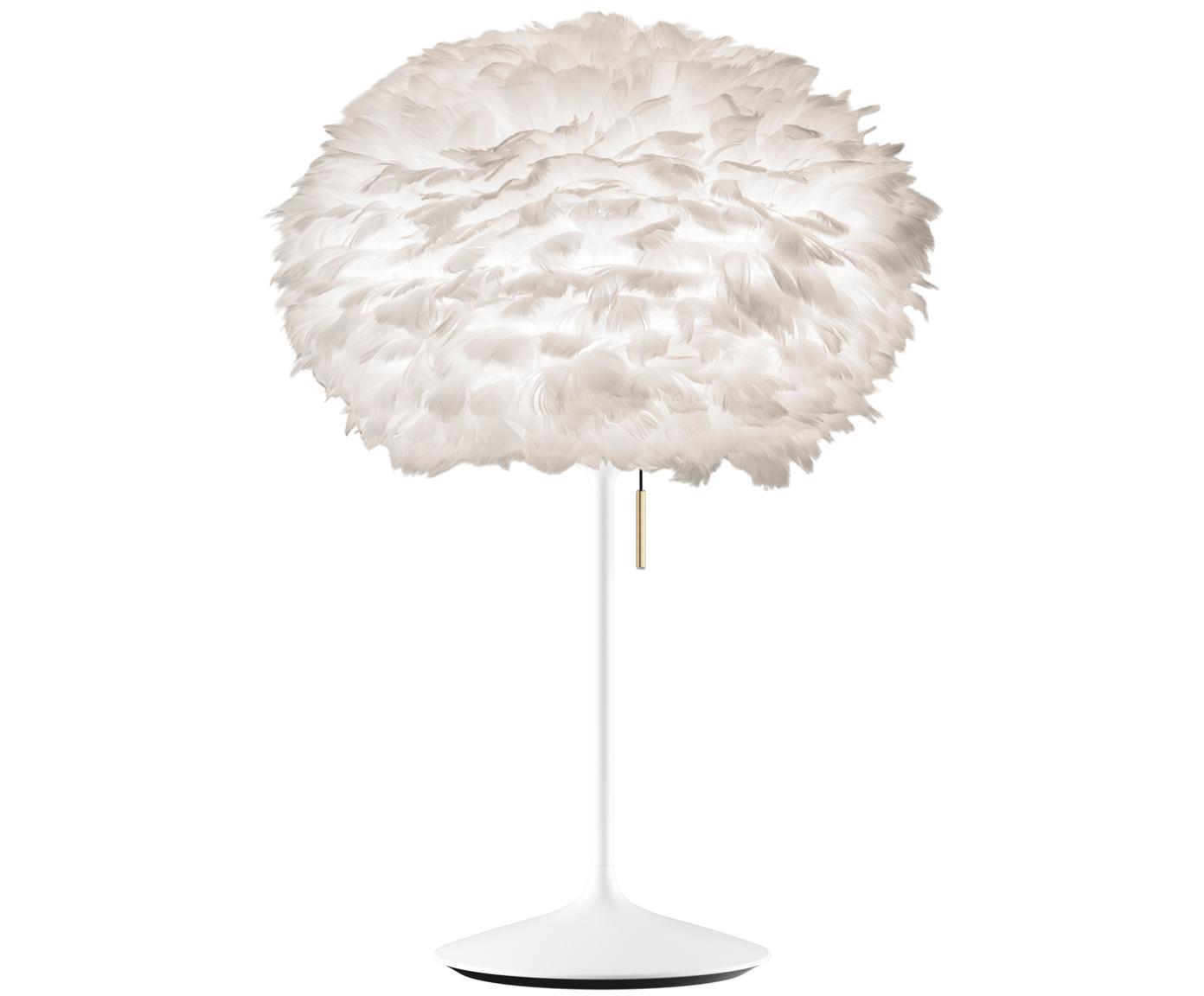 Große Tischleuchte Eos aus Federn, Lampenschirm: Polypropylen, Polycarbona, Lampenfuß: Aluminium, lackiert, Gestell: Stahl, Weiß, Ø 45 x H 72 cm