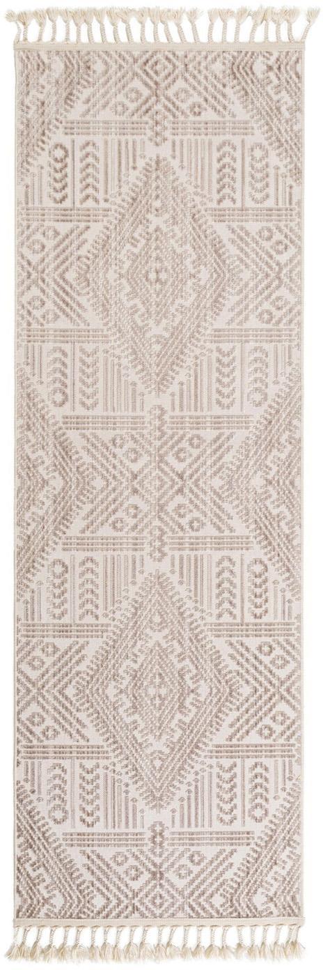 Passatoia con frange Laila Tang, Retro: cotone, Crema, Larg. 80 x Lung. 240 cm