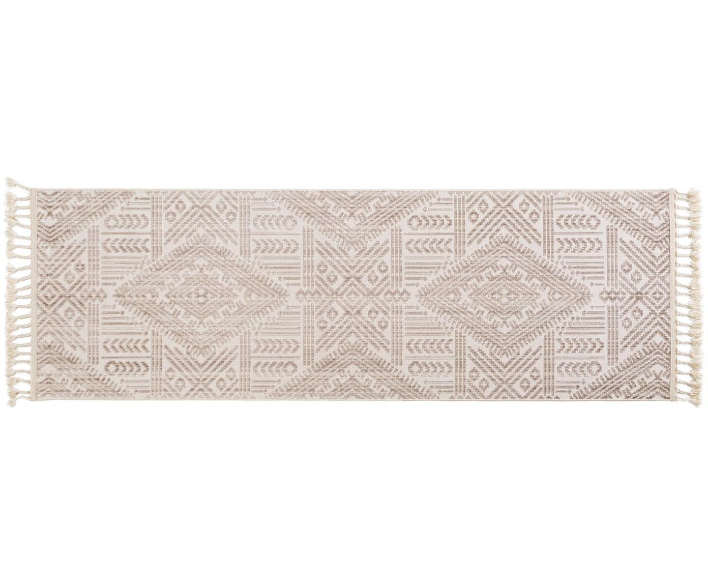 Passatoia con frange Laila Tang, Retro: cotone, Color crema, Larg. 80 x Lung. 240 cm