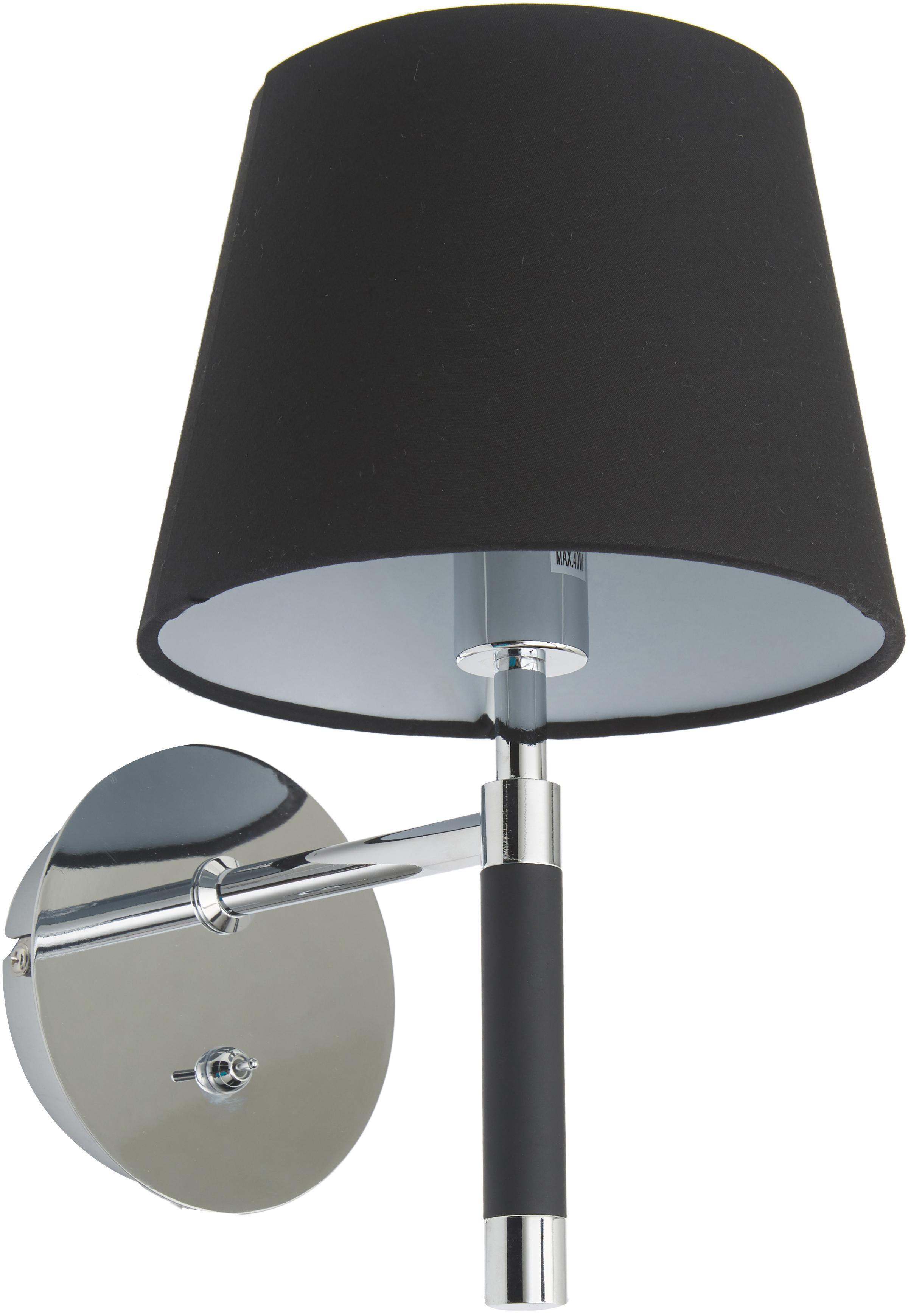 Wandlamp Strap met stekker, Lampenkap: textiel, Bevestiging: chroomkleurig, zwart. Lampenkap: zwart, 14 x 29 cm