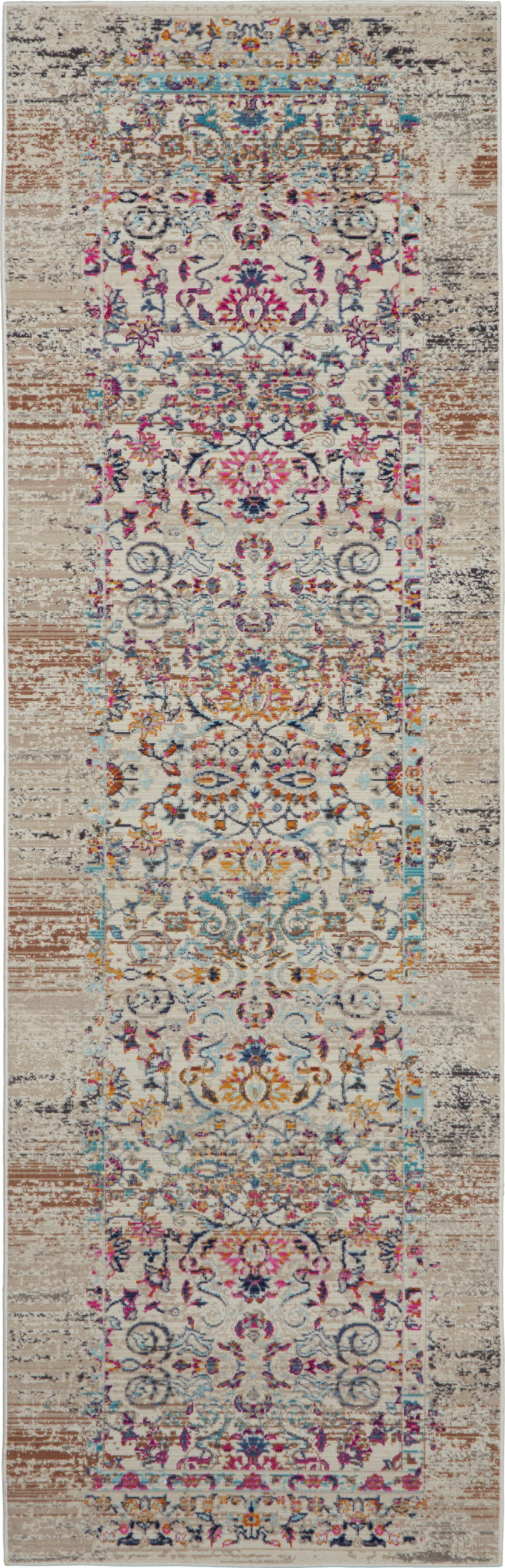 Laagpolige loper Kashan, Bovenzijde: polypropyleen, Onderzijde: latex, Beige, multicolour, 60 x 180 cm
