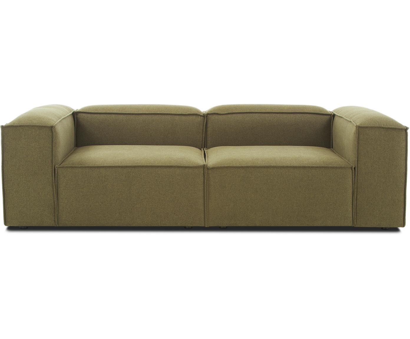 Modulares Sofa Lennon (3-Sitzer), Bezug: 100% Polyester 35.000 Sch, Gestell: Massives Kiefernholz, Spe, Füße: Kunststoff, Webstoff Grün, B 238 x T 119 cm