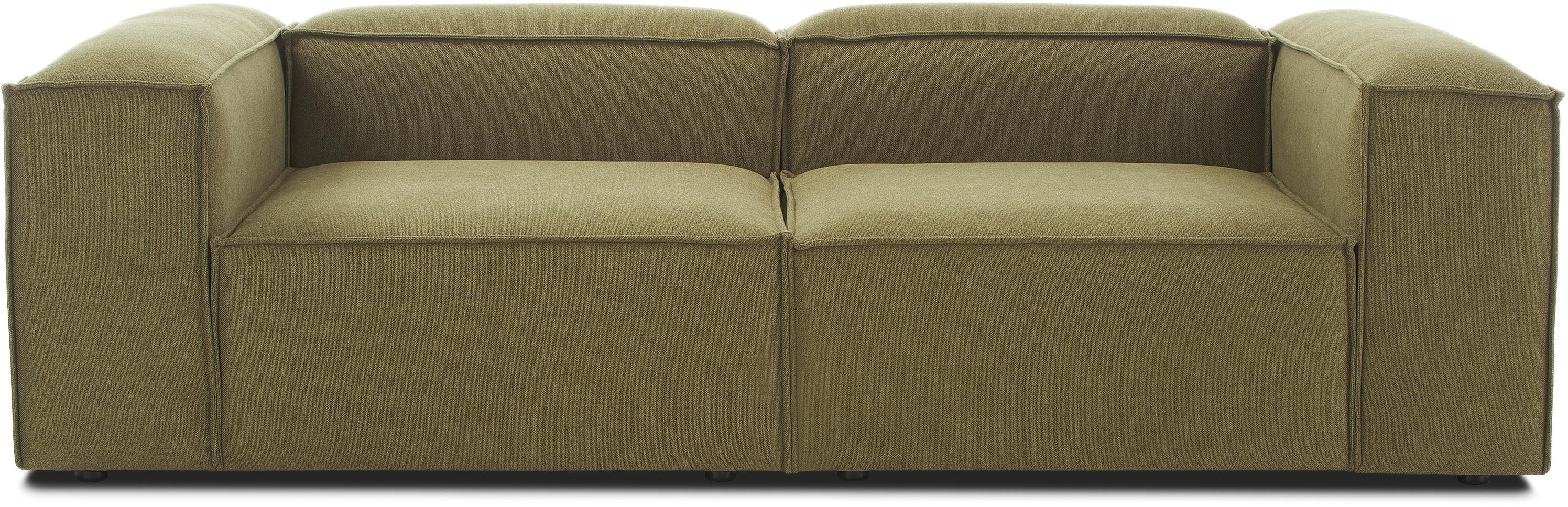 Modulaire bank Lennon (3-zits), Bekleding: 100% polyester, Frame: massief grenenhout, multi, Poten: kunststof, Geweven stof groen, B 238 x D 119 cm
