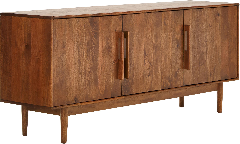 Aparador de madera Paul, estilo retro, Parte trasera: tablero de fibras de dens, Marrón, An 180 x Al 75 cm